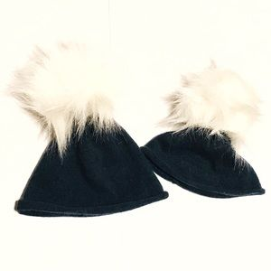 Cashmere Fur Pom Pom Hats Matching Set Girl & Doll